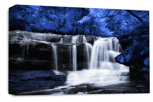 Waterfall Landscape Wall Art Blue Grey White Canvas Forrest Picture